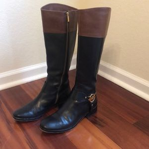 Michael Kors Black Brown Fulton Leather Boots